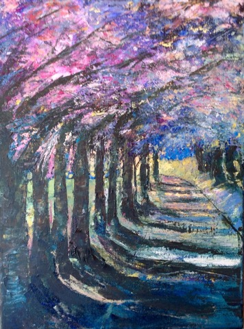 Cherry Lane Acrylic palette knife painting