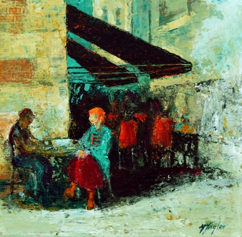 Krakow Cafe (sold)  acrylic on wood prints available on request