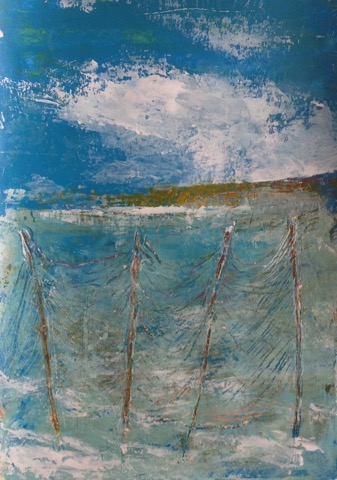 Fishing Nets  Acrylic palette knife on paper